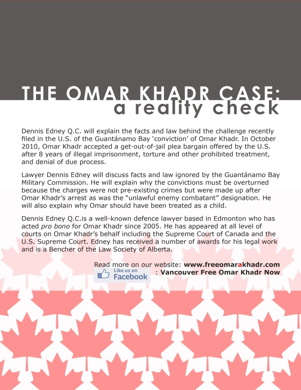 text back handout Omar Khadr Case a Reality Check