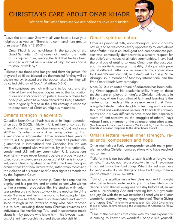 Omar Khadr l Christian Handout 2014-1