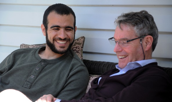 EDMONTON - Omar Khadr on May 9, 2015, with his longtime Canadian lawyer Dennis Edney. Edney, along with his wife Patricia, have offered the 28-year-old their home while he is out on bay after nearly 13 years in prison. MICHELLE SHEPHARD/TORONTO STAR.