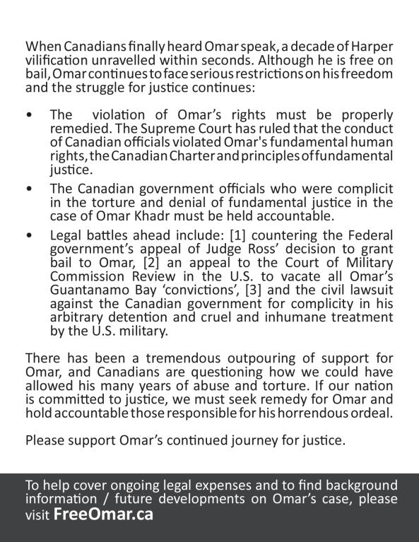Omar Khadr TIFF Toronto Handout.indd