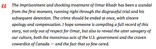 quote Chomsky on Omar Khadr